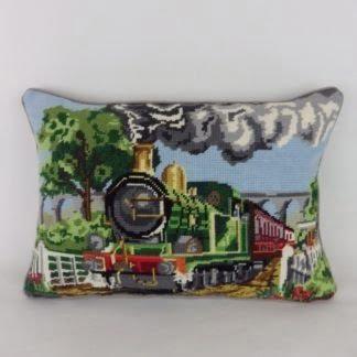 Steam Train Needlepoint Cushion