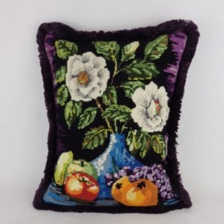 Floral Vase Vintage Wool Needlepoint Cushion