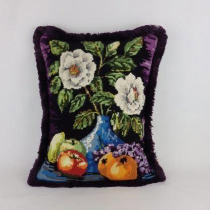 Floral Vase Vintage Wool Needlepoint Cushion