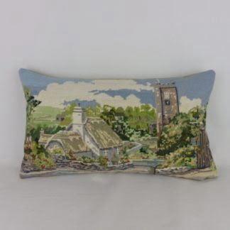 Dittisham Devon Vintage Wool Needlepoint Cushion