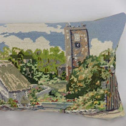 Dittisham Devon Vintage Wool Needlepoint Cushion