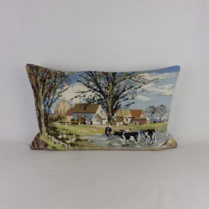 Country Farm Cows Wool Needlepoint Cushion