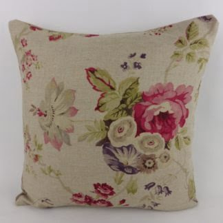Pink Natural Linen Country Cottage Rose Floral Cushion