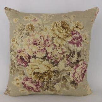Sanderson Weybridge Vintage Floral Linen Mulberry Cushion