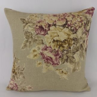 Sanderson Weybridge Vintage Floral Linen Mulberry Cushion