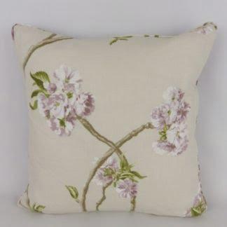 Purple Blossom Linen Floral Cushion