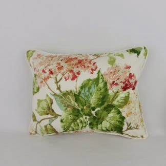 Coral Pink Hydrangea Floral Cushions