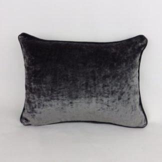 Dark Slate Grey Velvet Piped Cushions