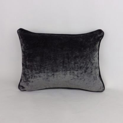 Dark Slate Grey Velvet Piped Cushions