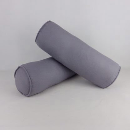 Pair of Grey Bolster Cushions