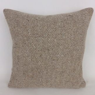 Brown Herringbone Wool Cushions