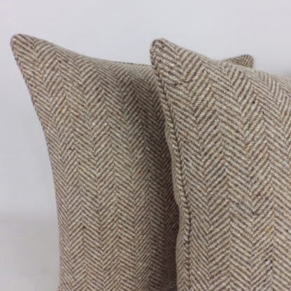 Brown Herringbone Wool Cushions