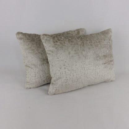 Oyster Grey Cut Velvet Textured Lumbar Cushions