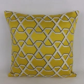 Yellow Gold Geometric Trellis Damask Cushion