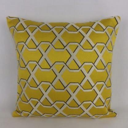 Yellow Gold Geometric Trellis Damask Cushion