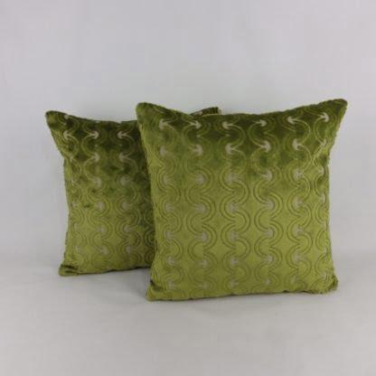 Green Cut Velvet Cushions