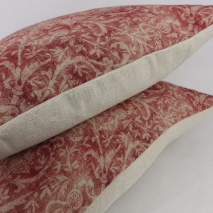 Faded Red Damask Print Cushion