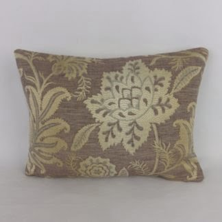 Brown Gold Jacquard Lumbar Cushions