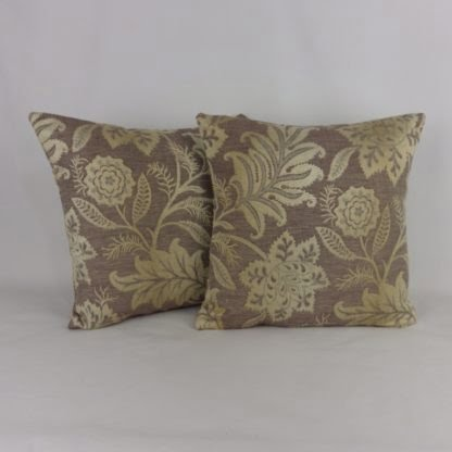 Brown Gold Jacquard Cushions