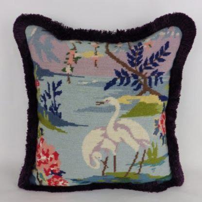 Vintage Wool Needlepoint Embroidered Bird Cushion