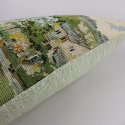 Vintage Wool Needlepoint Country Cottage Cushion