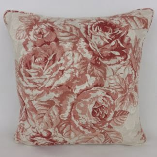 Faded Red Vintage Rose Cushion