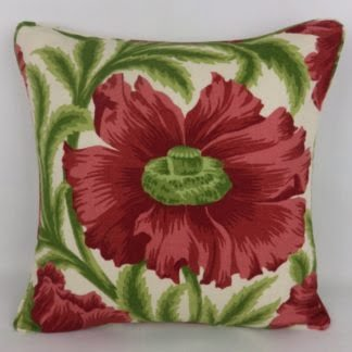 Red Green Large Poppy Floral Cushions