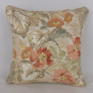 Sanderson Exbury Coral Copper Peach Country Floral Cushion