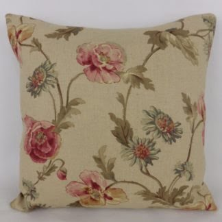 Tea Stain Floral Linen Cushion
