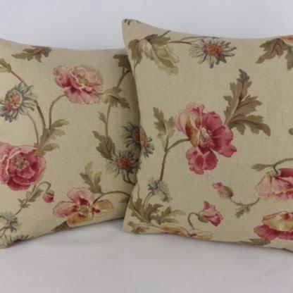 Tea Stain Floral Linen Cushion