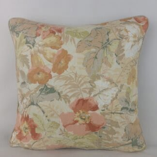 Sanderson Exbury Coral Copper Peach Country Floral Cushion