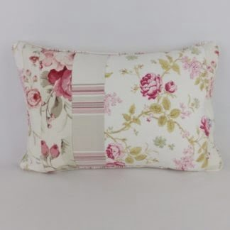 Pink Vintage Floral Linen Patchwork Pillow Cushion