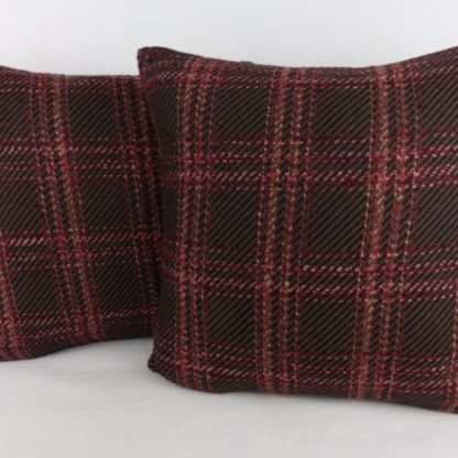 Wine Pink Brown Wool Check Linen Cushion
