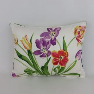 Bright Floral Spring Tulip Lumbar Cushion