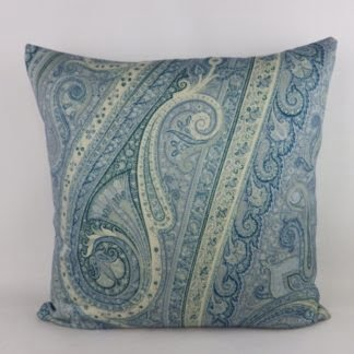 Blue Wool Paisley Cushions