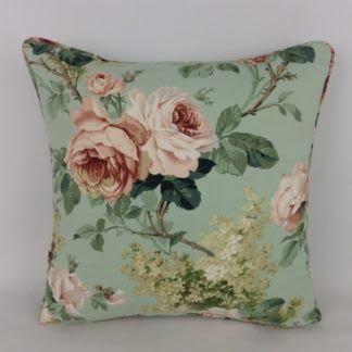 Vintage Green Sanderson Sorilla Rose Floral Cushions