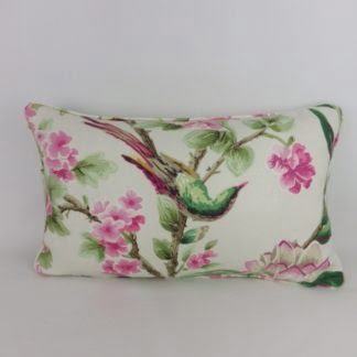 Green Pink Bird Floral Bolster Cushion