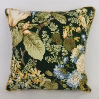 Vintage Sanderson Aria Green Floral Cushion