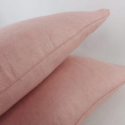 Pink Linen Lumbar Cushion