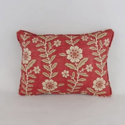 Red Cream Floral Cushions