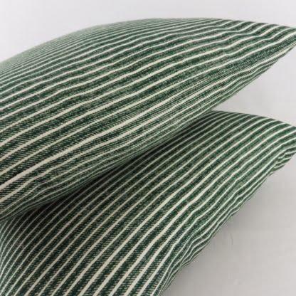 Dark Green Ticking Stripe Cushions