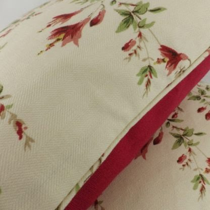 Large Vintage Red Fuchsia Floral Cushion