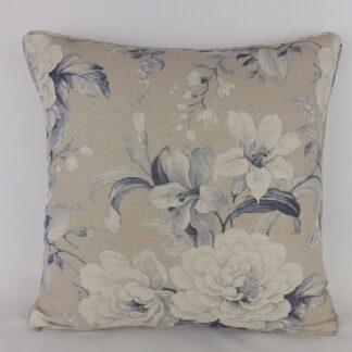 Blue Rose Natural Linen Floral Large Cushion