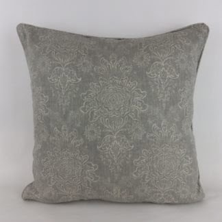 Soft Grey Floral Linen Cushion
