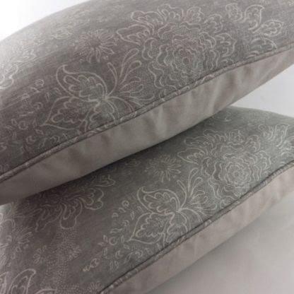 Soft Grey Floral Linen Cushion