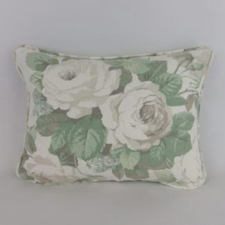 Green Grey Vintage Rose Linen Cushions