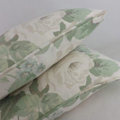 Green Grey Vintage Rose Linen Cushions