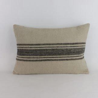 Black Natural Linen Stripe Cushion