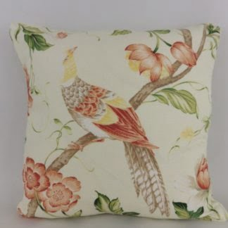 Yellow Peach Bird Floral Cushion
