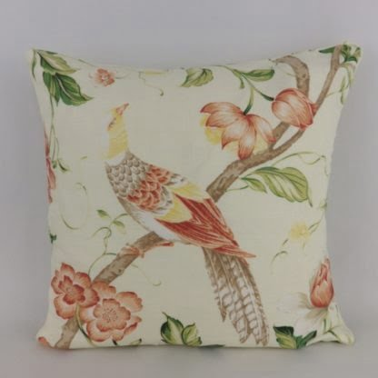 Yellow Peach Bird Floral Cushion